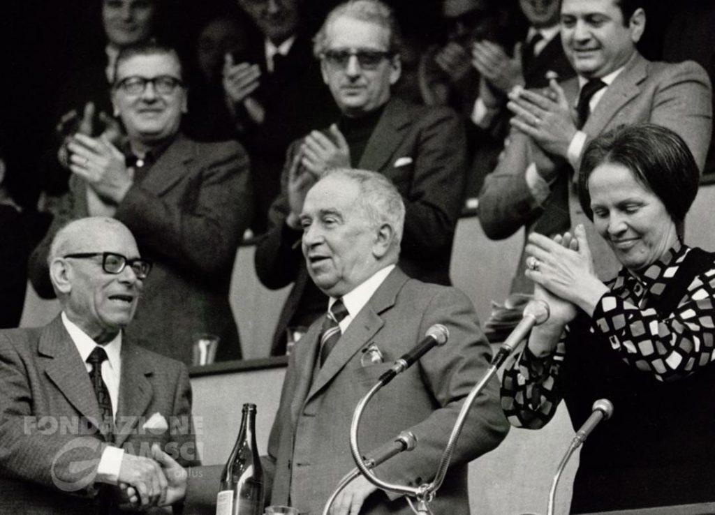 Luigi Longo, Umberto Terracini e Nilde Iotti al XIII Congresso nazionale del Pci