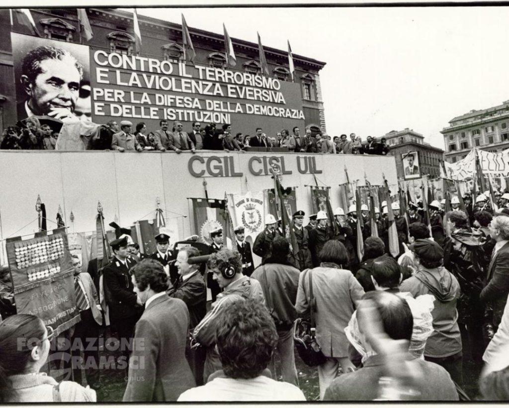 Manifestazione unitaria Cgil-Cisl-Uil per l'assassinio di Aldo Moro