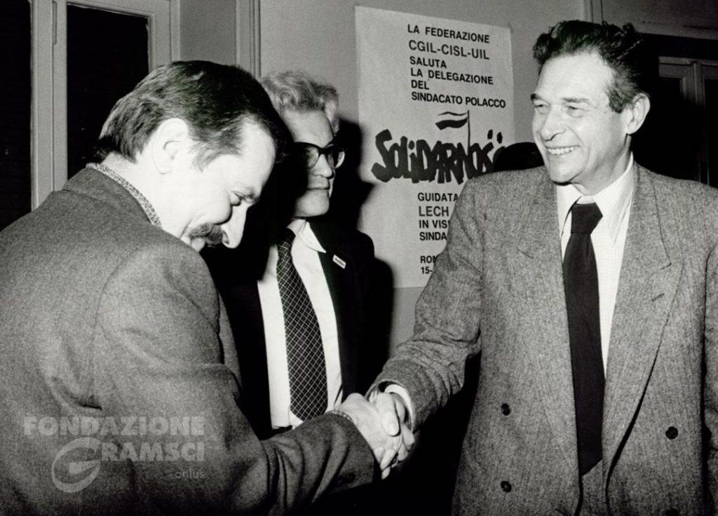 L'incontro tra Lech Walesa e Luciano Lama